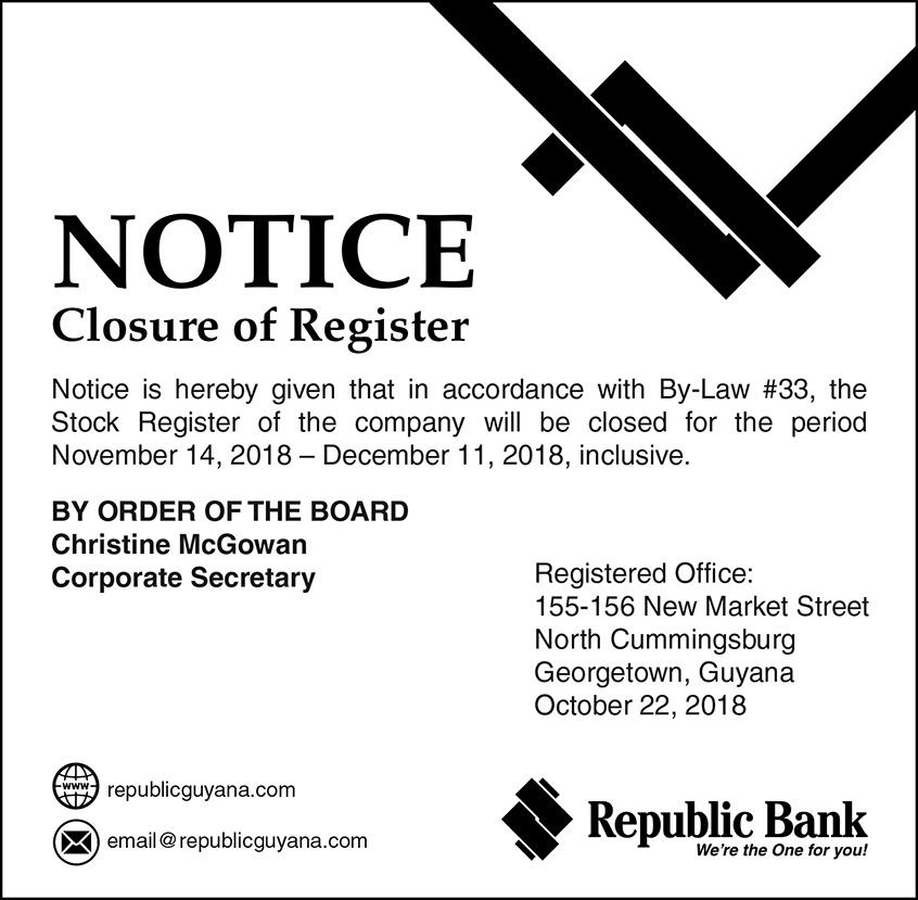 NOTICE-Closure of Register | Republic Bank