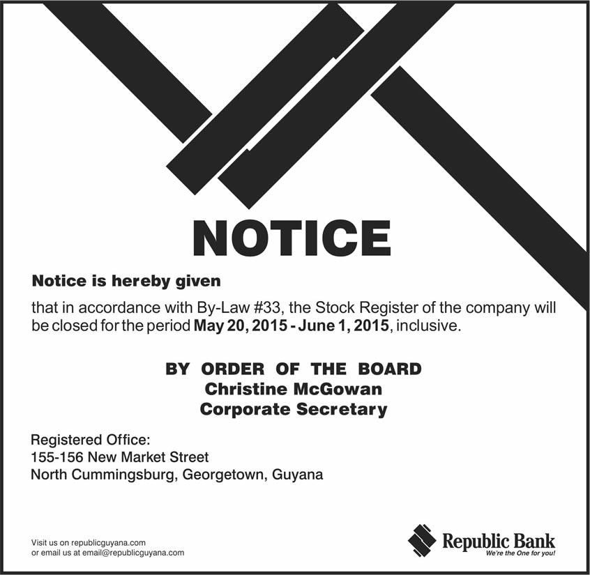 NOTICE: Closure Of Stock Register | Republic Bank